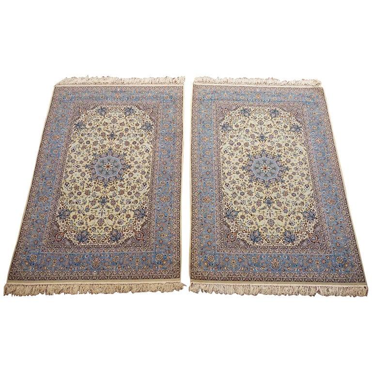 Pair of Vintage Wool and Silk Persian Isfahan Rugs
