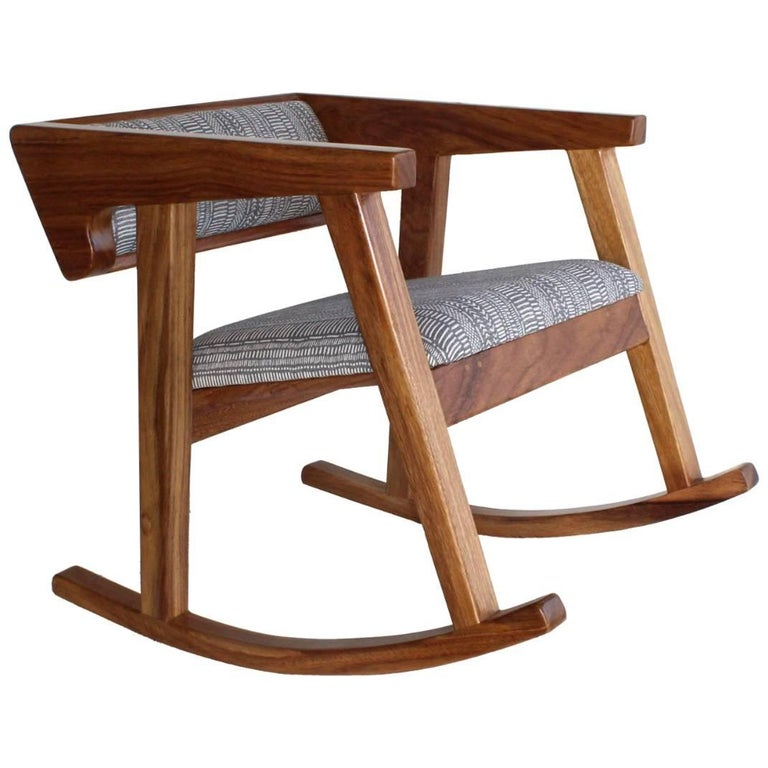 Handmade Mexican Contemporary Conacaste Solid Wood Rocking Chair For Sale