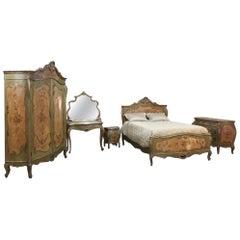 Antique Venetian Painted Baroque Five-Piece Bedroom Suite