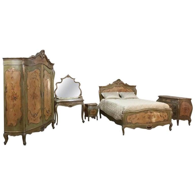 Antique Venetian Painted Baroque Five, Antique Italian Bedroom Furniture