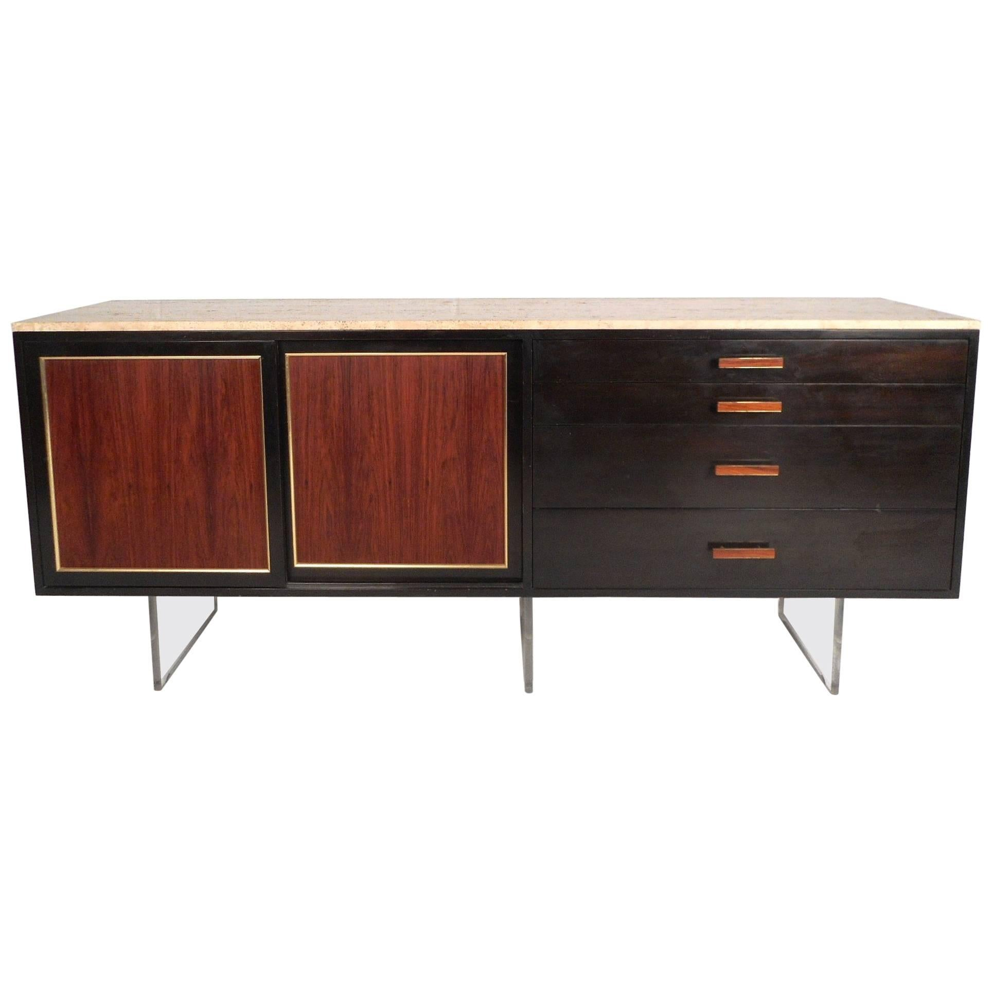 Exquisite Mid-Century Modern Marble-Top Sideboard by Harvey Probber