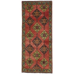 Vintage Turkish Oushak Runner with Modern Tribal, Wide Hallway Runner