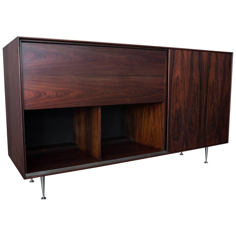 George Nelson & Assoc. Herman Miller Rosewood Thin Edge Series Credenza Dry Bar For Sale