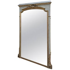 French Louis XVI Gilded and Painted Mirror, 19th Century
