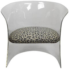 Lucite Tub Chair with Cheetah Print Fabric Upholstery
