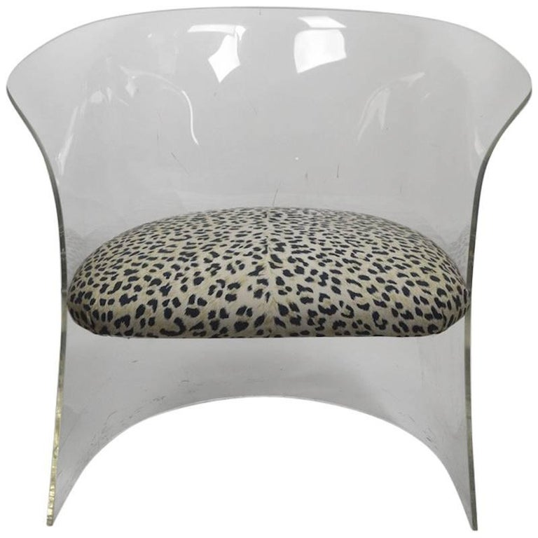 Lucite Tub Chair with Cheetah Print Fabric Upholstery For Sale