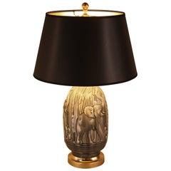 Elegant Pottery Table Lamp with Elephant Motif