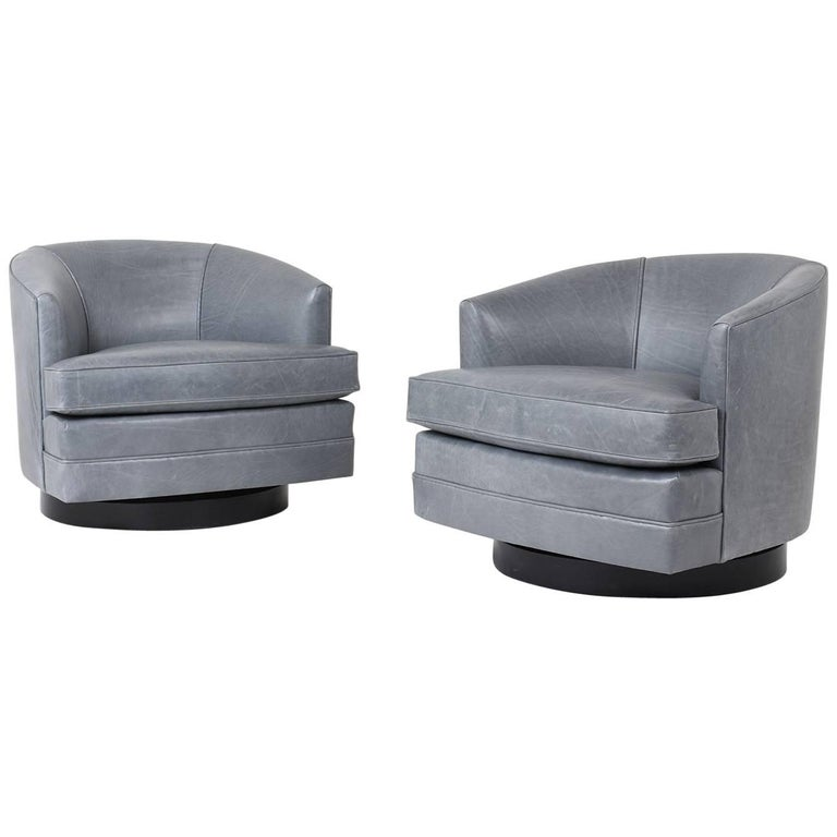 Pair of Mid-Century Modern Style Leather Swivel Lounge Chairs