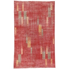 Zeki Muren Distressed Vintage Turkish Sivas Rug with Art Deco Cubist Style