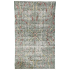 Zeki Muren Distressed Vintage Turkish Sivas Rug with Art Deco Style