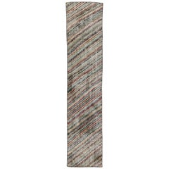 Distressed Vintage Turkish Sivas Runner with Art Deco Style, Narrow Runner
