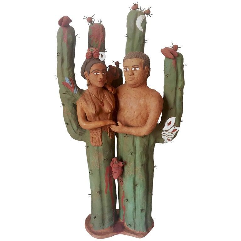 Frida Kahlo & Diego Rivera Clay Sculpture Mexican Folk Art