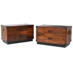 Pair of Campaign-Style Rosewood Chest of Drawers