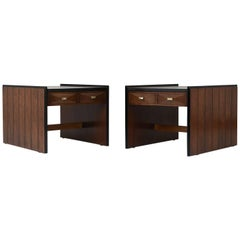 Pair of Mid-Century Modern Style Walnut Nightstands