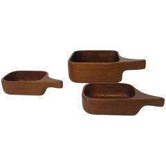 Sigvard Nilsson Teak Nut Bowls for Sowe, Sweden