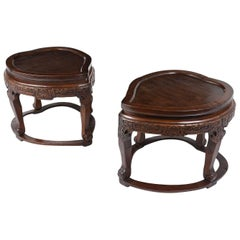 Pair of Chinese Mahogany Garden Stools