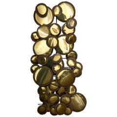 Striking Brass Wall Sculpture Raindrops Style after Curtis Jere