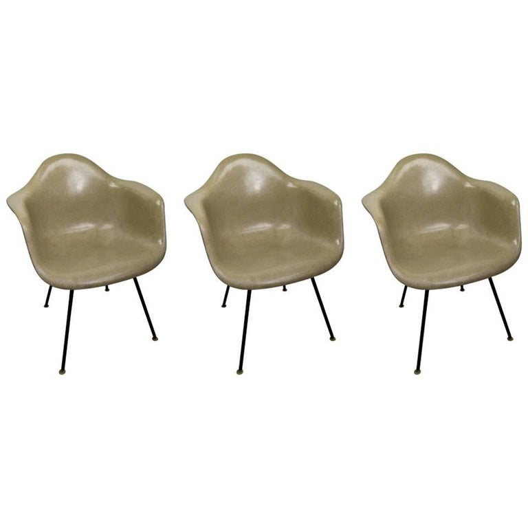 Three Eames Fiberglass Bucket Chairs For Sale at 1stdibs
