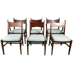 Set of Six Mid-Century Modern Dining Chairs, Lane Tuxedo, Butterfly Inlay