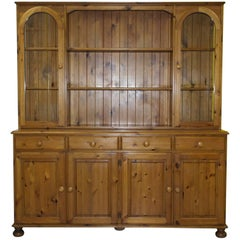 Nice Ducal Victoria Glass Shelved Pine Welsh Dresser Quad Bank