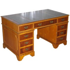 35 Year Old Premium Twin Pedestal Yew Wood Partner Desk Leather Writing Surface
