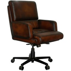 Restored Herman Miller Executive Swivel Office Armchair Hand Dyed Brown Leather