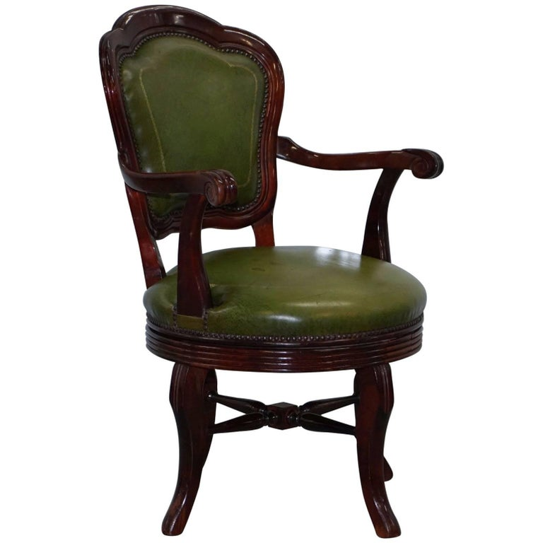 Astounding Vintage Green Leather With Gold Tooling Mahogany Captains Swivel Office Chair Bralicious Painted Fabric Chair Ideas Braliciousco