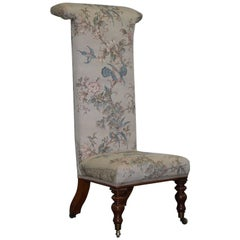 Victorian Mahogany Prayer Chair Part of Suite Silk Floral and Birds Upholstery