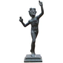Rare Miniature Very Early Bronze Statue of the Dancing Faun Grand Tour Piece