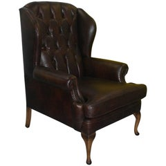 New Aged Vintage Leather Jameson Seating Henley Wingback Queen Anne Armchair