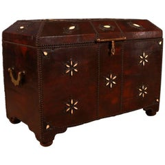 Moroccan Leather Bound Coffer or Storage Chest