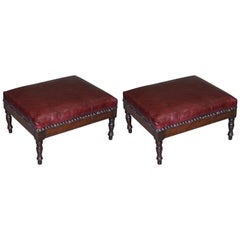 Lovely Pair of Very Small Victorian Mahogany Footstools New Bordeaux Leather