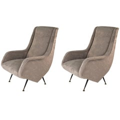 Pair of Velvet Armchairs by Aldo Morbelli for ISA Bergamo, 1950s