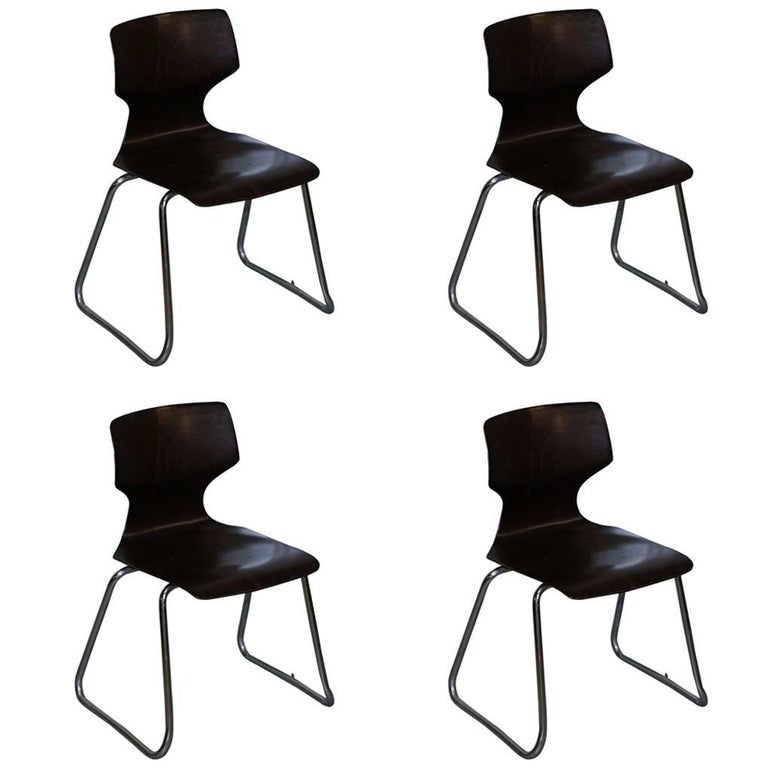 Set of Four Rare 1970 Pagholz FPF Elmar Flotto Stacking Dining Chairs
