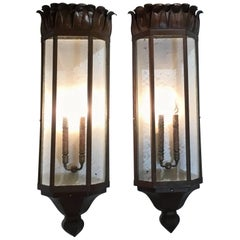 Large Pair of Art Deco Sconces