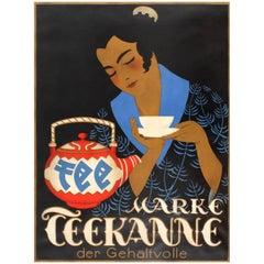 Original Vintage Drink Advertising Poster for Quality Brand Tea - Marke Teekanne