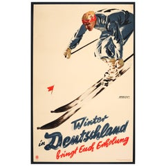 Original Vintage 1935 Winter in Germany Skiing Poster for Fun and Relaxation