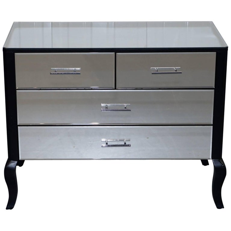 Perfect Condition Venetian Mirrored Glass Chest of Drawers Ebonized Black Frame
