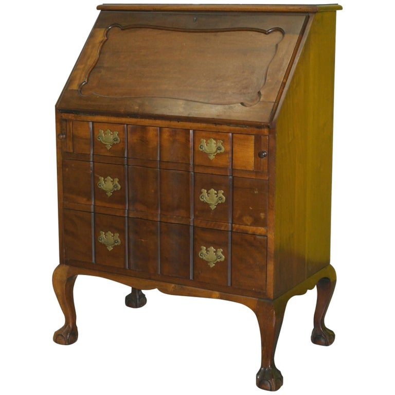 Lovely 1950s Serpentine Fronted Mahogany Chippendale Writing Bureau Claw & Ball