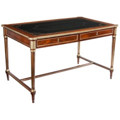19th Century French Mahogany and Brass Antique Writing Table Louis XVI Manner