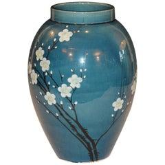 Antique Awaji Pottery Japanese Prunus Cherry Blossom Signed Ikebana Flower Vase