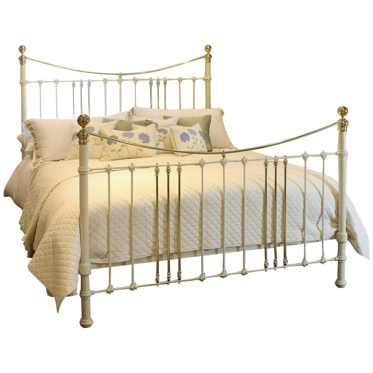 Wide Cast Iron and Brass Bed in Cream, MSK43 For Sale at 1stdibs