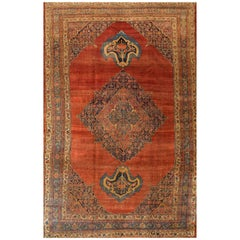 1880s Persian Rust or Blue Bidjar Carpet