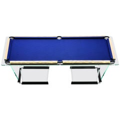 """T1.2"" Crystal Pool Table with Gold Plated Covers by Marc Sadler for Teckell"