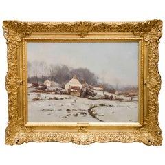 Late 19th Century Impressionist Winter Landscape, Francois Joseph Belgian School