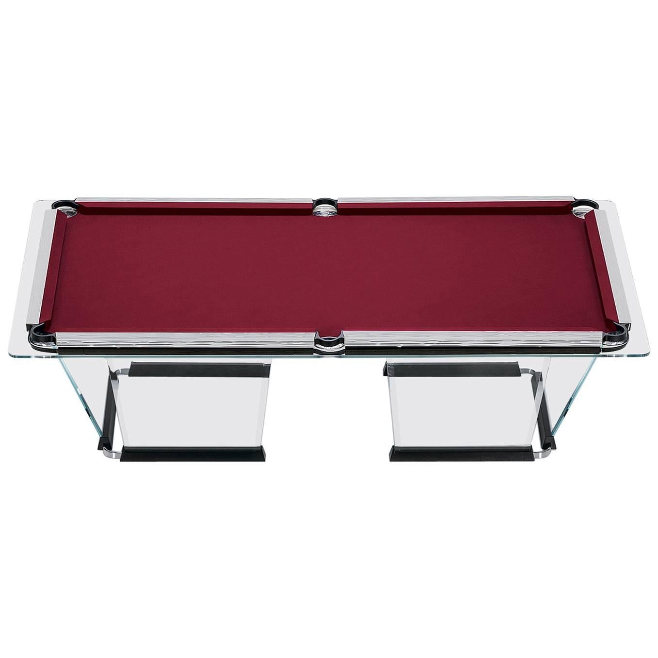 """T1.2"" Crystal Pool Table with Chrome Plated Covers by Marc Sadler for Teckell"