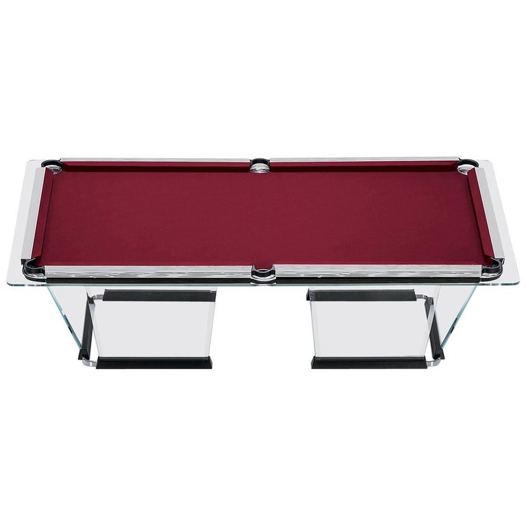 T Crystal Pool Table With Gold Plated Covers By Marc Sadler For - Chrome pool table