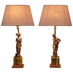 Pair of Roman Figure Table Lamps on Striped Onyx Base, Italy, 1970s