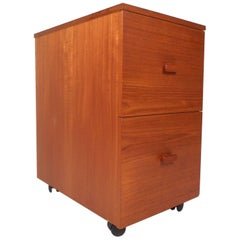 Mid-Century Modern Small Teak Rolling File Cabinet