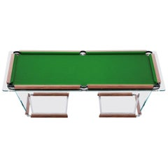 """T1.2"" Crystal Pool Table with Leather or Walnut Covers by M. Sadler for Teckell"